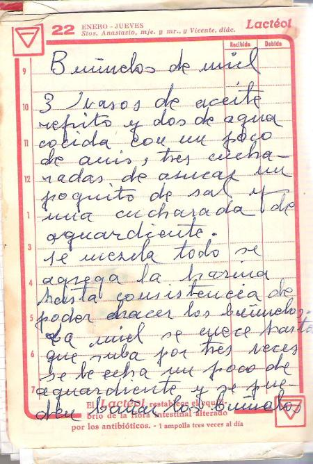 Receta de buñuelos de miel  1959 001