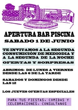 cartel apertura Bar Piscina 13