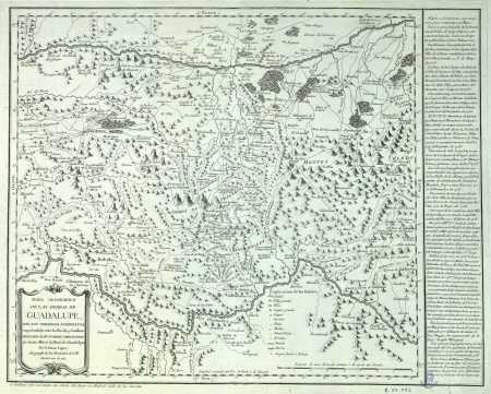 Mapa de la comarca de Las Villuercas, realizado por Tomás López en 1781. Clic para ampliar el mapa