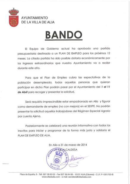 BANDO ALÍA 020414